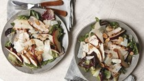 Grilled chicken, pear, almond, and Manchego salad