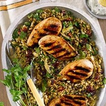 Grilled chicken salad with freekeh, preserved lemon & dried cherries