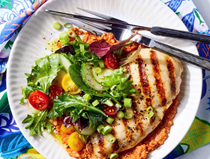 Grilled chicken with red pepper-pecan romesco