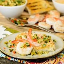 Grilled country bread with shrimp, Portuguese aïoli, and green olive relish