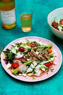 Grilled fattoush salad with chicken and tangy buttermilk dressing