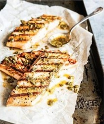 Grilled fish fillets with complex green sauce