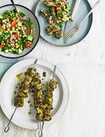 Grilled fish skewers with chickpea salad