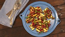 Grilled haloumi with pomegranate and sumac dressing