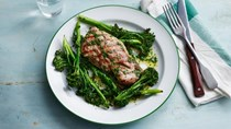 Grilled lamb steak with rosemary butter