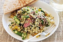 Grilled lamb with spring burghul salad
