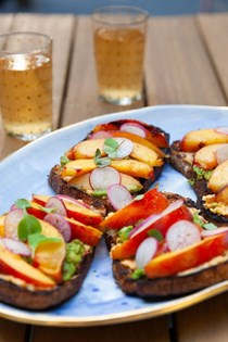 Grilled peach pimiento cheese toasts