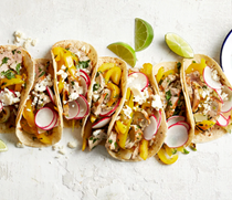 Grilled pork & pepper tacos with jalapeño-lime dressing