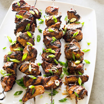 Grilled pork kebabs with hoisin and five-spice