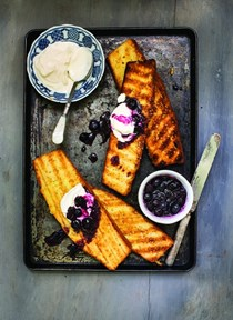 Grilled pound cake with blueberry cardamom compote