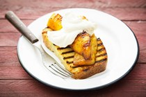 Grilled pound cake with rum-scented grilled pineapple