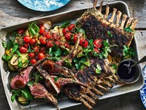 Grilled rack of lamb with demi-glace butter