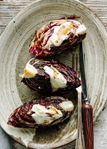 Grilled radicchio with creamy cheese