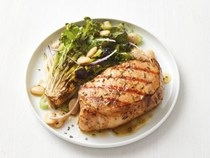 Grilled rosemary pork chops with escarole