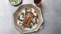 Grilled salmon with Aleppo-honey glaze, turnips, and kale