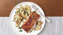 Grilled salmon with red-miso glaze and nectarine-Thai basil relish