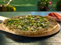 Grilled shaved asparagus pizza with robiola and parsley oil