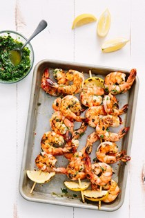 Grilled shrimp skewers with chimichurri