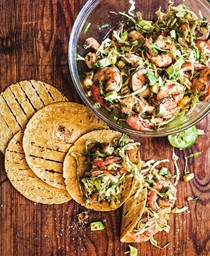 Grilled shrimp tacos with avocado and grilled pineapple