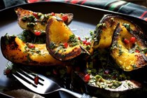 Grilled squash with mint-pomegranate pesto