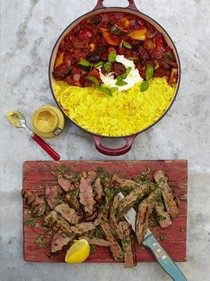 Grilled steak, ratatouille & saffron rice