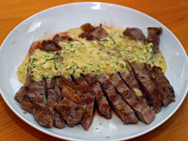 Grilled steak with sauce gribiche dinner tonight recipe - Steak d espadon grille sauce combava ...