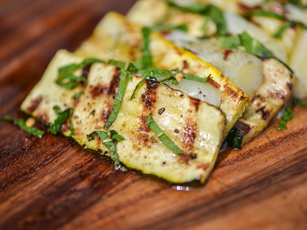 Grilled Summer Squash With Feta And Mint Recipe — Dishmaps
