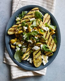 Grilled summer squash with feta