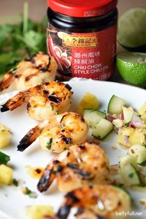 Grilled Thai shrimp with pineapple cucumber salad