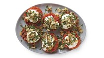 Grilled tomatoes with burrata and parsley salad