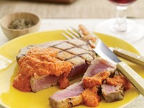 Grilled tuna with smoked-almond romesco sauce [Nick Fauchald]
