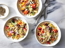Grilled veggie orzo salad