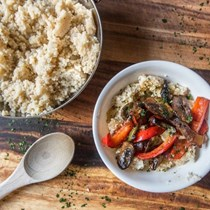 Grilled veggies and couscous with orange-balsamic dressing