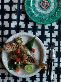 Grilled whole fish with sambal matah, watermelon and cucumber