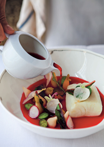 Halibut and radishes in beet dashi