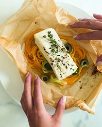 Halibut en papillote with butternut squash