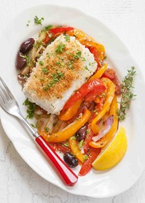 Halibut with fennel, peppers, and tomato