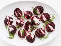 Hasselback beets with dill yogurt sauce