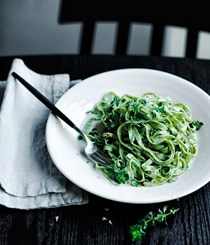 Herb pasta with sorrel butter and lemon thyme