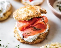 Herb scones with chive cream and smoked salmon