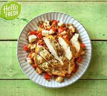 Herby pan-seared chicken with farro, tomatoes, and fresh mozzarella