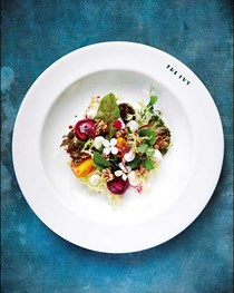 Heritage beetroot salad with goat cheese and walnut granola