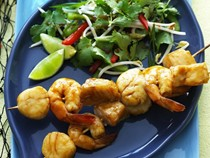 Hoisin seafood skewers with ginger salad