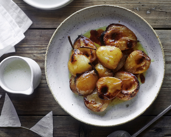 Honey and butter baked pears