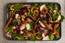 Honeyed carrot salad with squash and roasted garlic vinaigrette