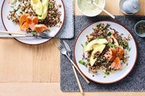 Hot-smoked salmon, four-grain salad, avocado, puffed rice [Rhys Hannan]