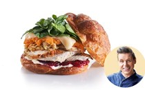 Hot turkey croissant sandwiches with sweet potato and harvarti