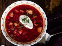 Hot Ukrainian borscht (with beets, beef, pork, and more)