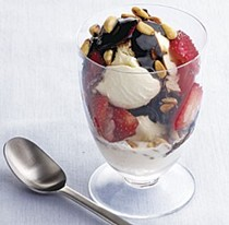 Ice cream parfaits with strawberries and balsamic syrup