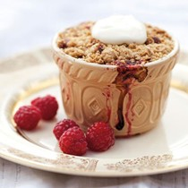 Individual rhubarb and berry crumbles